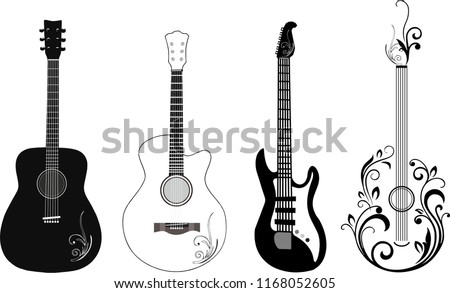 set of 4 black and white guitar