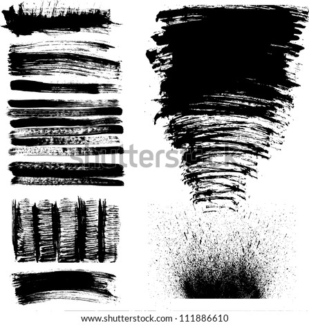 Set of black and white hand drawn grunge paint stains