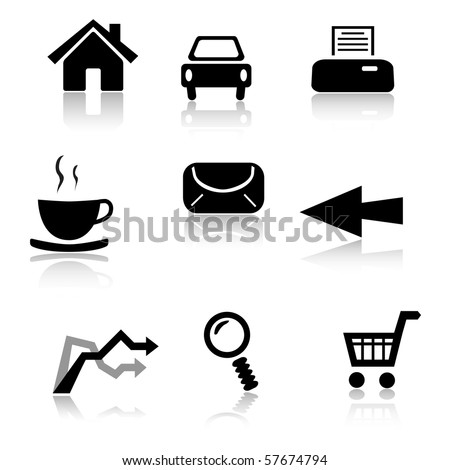 Set of 9 black and white icons