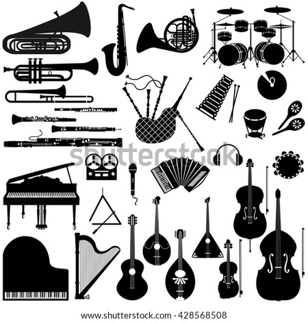 Set of black and white icons of musical instruments