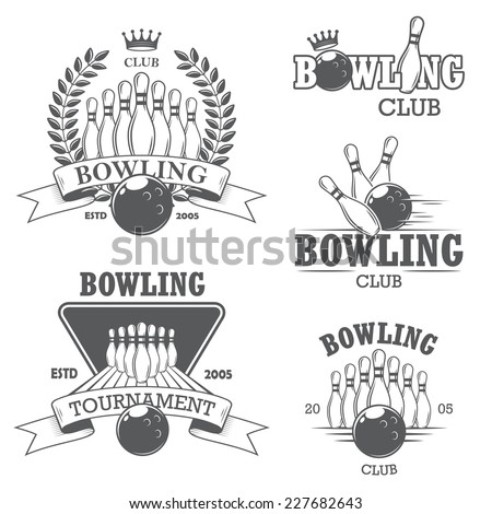 Set of black and white isolated bowling emblems, labels, badges and designed elements. Set 1