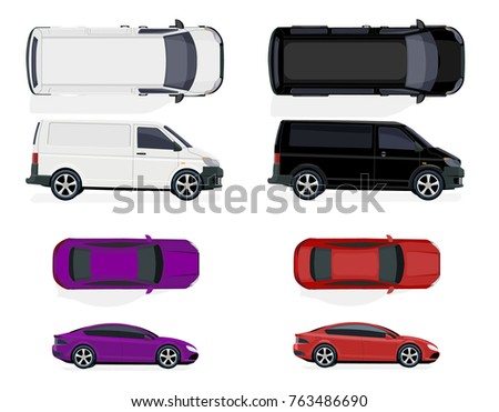 Set of black and white minibus, red and purple car. Side view and top view. Volumetric drawing without a grid and a gradient. Isolated on white background. Vector illustration