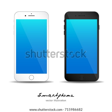 Set of black and white Mobile phone with empty Blue screen to present your application, design. Vector illustration. for printing, web element, Game demo and application mockup.