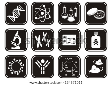set of black and white molecular biology science icons