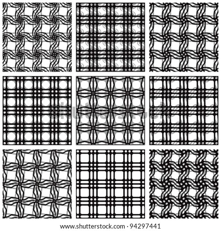 Set of black and white netting geometric seamless patterns. Vector backgrounds collection.