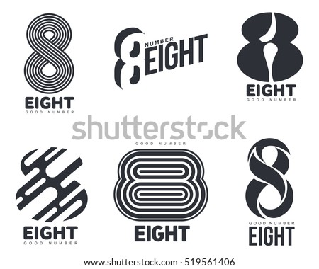 set of black and white number