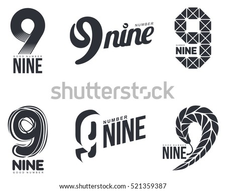 Shutterstock Set of black and white number nine logo templates, vector illustrations isolated on white background. Black and white graphic number nine logo templates - technical, organic, abstract