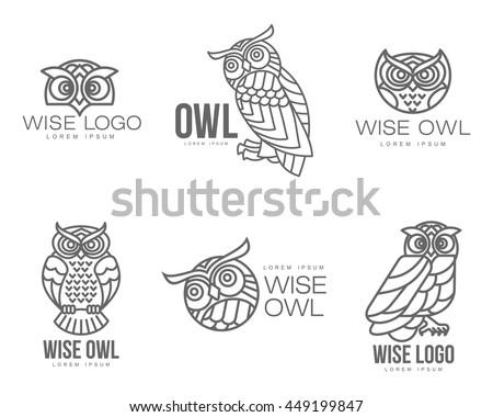 set of black and white owl logo
