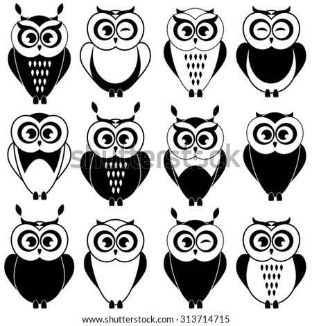 set of black and white owls