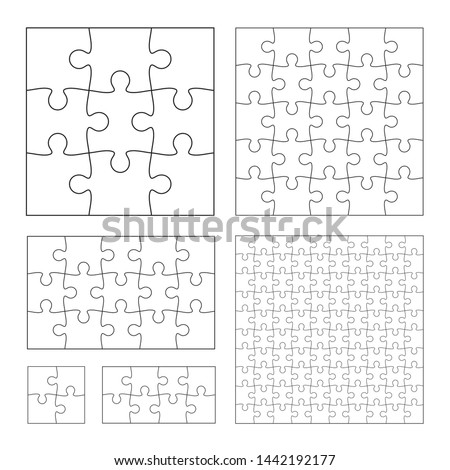 Set of black and white puzzle pieces. Has different sizes namely 100, 15, 25, 9, 4, 8 pieces. Line mackup - stock vector.