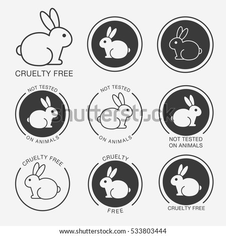Set of black and white round icons with a rabbit (bunny) and titles
