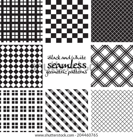 Set of black and white seamless geometric patterns in square