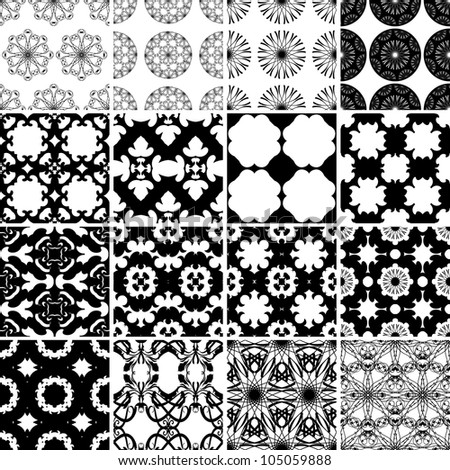 Set of black and white seamless patterns. Vector backgrounds collection.