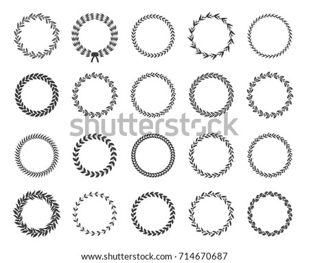 Set of black and white silhouette circular laurel foliate and oak wreaths depicting an award, achievement, heraldry, nobility. Vector illustration.