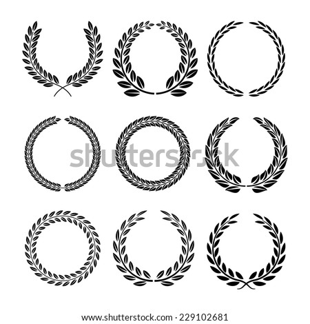 Set of black and white silhouette circular laurel foliate and wheat wreaths depicting an award achievement heraldry nobility and the classics vector illustration Foto d'archivio ©