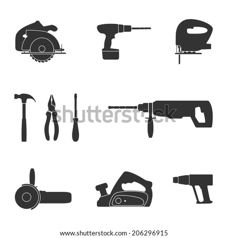 set of black and white silhouette web icons of tools screwdriver, fret saw, circular saw, drill, angle grinder, industrial fan, jack, hummer and pliers