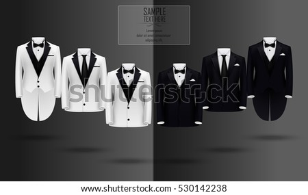 Set of black and white suits.Vector illustration