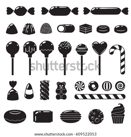 Set of black and white sweets - marshmallow, gummy bears, hard candies, dragee, jelly, licorice, candy cane, peppermint candy, donut, cupcake macaron cookie vector illustration
