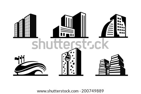 Set of black and white vector building icons showing the exteriors of six modern buildings with a sports stadium  high-rise apartment and office blocks and skyscrapers