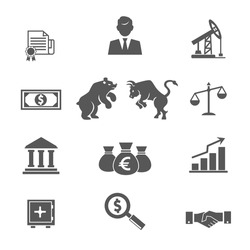Set of black and white vector financial stock icons with a broker  oil and mining futures  banknotes  money  bear  bull  scales  bank  graphs  charts  safe  magnifying  glass  analysis and handshake