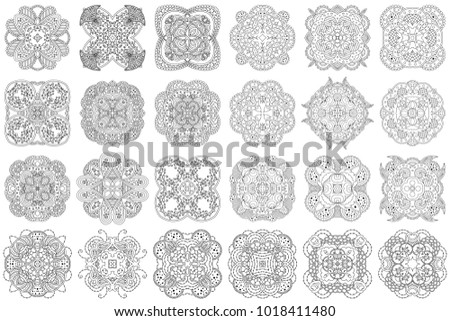 Set of black and white zentangle mandalas on a white background vector template mandala for