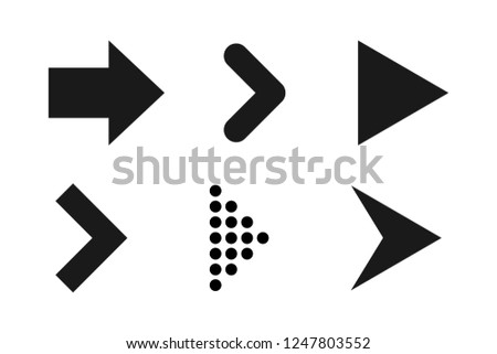 Set of black arrows icons. Dots and lines. Pointer forward, backward. Icon next, icon back, icon forward