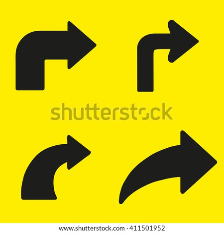 Set  of black arrows right turn on a yellow background