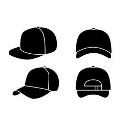 set of black Baseball hat logo icon design vector illustration