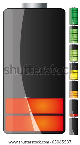 Set of Black battery charge showing stages of power running low and full, part 2, vector illustration