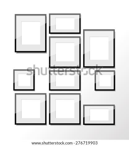 Set of black black photo frames in different sizes | EZ Canvas