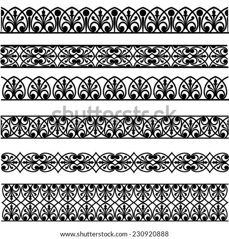 Set of black borders isolated on white #230920888