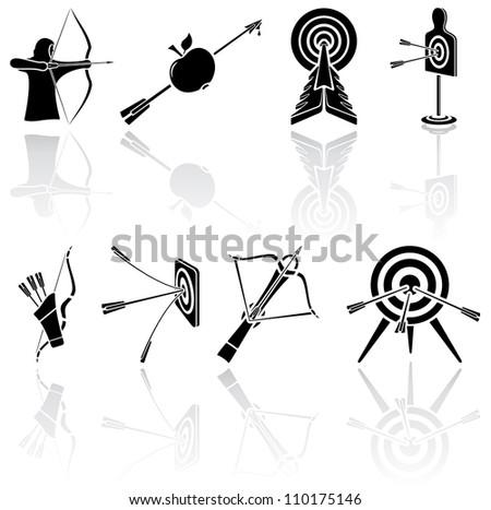 Set of black Bow icons on white background, illustration
