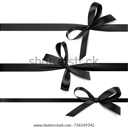 Set of black bow with horizontal black ribbon. Vector decorations for black friday sale design