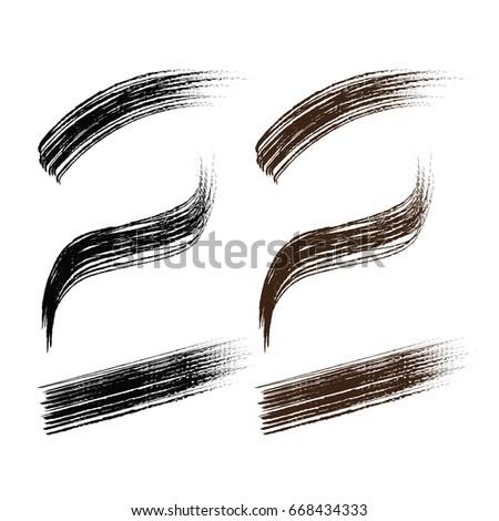 set of black , brown mascara brush stroke hand drawn cosmetic makeup on white background vector illustration