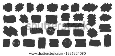 Set of black brush splash or blobs. Brushes blobs, grungy, splash. Vector elements, frames for text, labels, circle frames, boxes, logo. Vector illustration