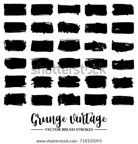 Set of black brush stroke and texture. Grunge vector abstract hand - painted element. Underline and border. #718105093