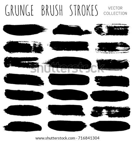 Set of black brush strokes, ink brushes, paint lines backgrounds. Paint grunge design elements, boxes, frames for text. grungy hand painted brushes isolated on white, watercolor texture. #716841304
