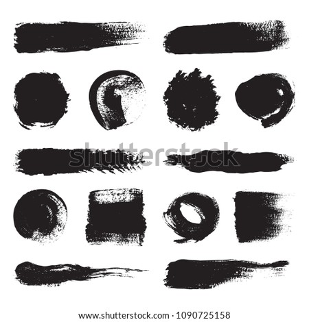 Set of black brushes. Collection of icons. Texture and background. #1090725158