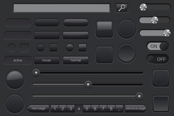 Set of black buttons. Collection of user interface elements. Vector illustration