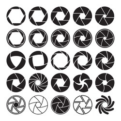 Set of black camera shutter icons on white background. Vector illustration