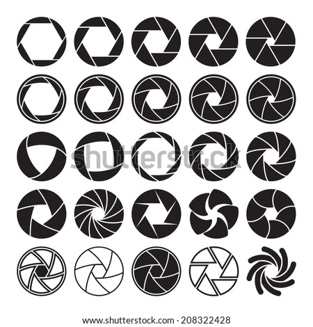 Set of black camera shutter icons on white background. Vector illustration