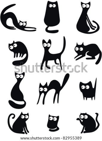 Set of black cat silhouettes