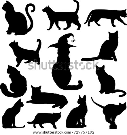 Set of black cats silhouettes isolated on white background. Vector illustration, icon, clip art.