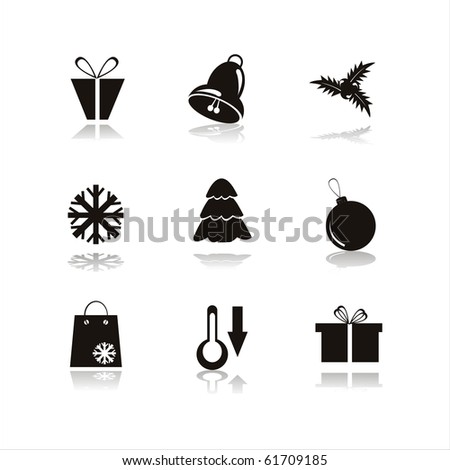 set of 9 black christmas icons