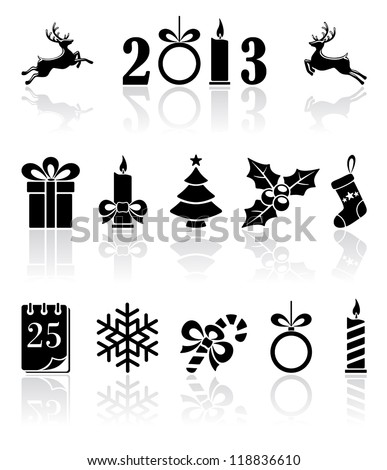 Set of black Christmas icons, illustration