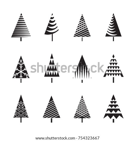 Set of Black Christmas Trees Icons.