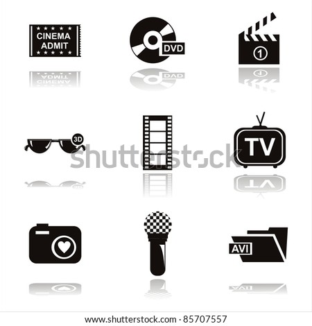 set of 9 black cinema icons