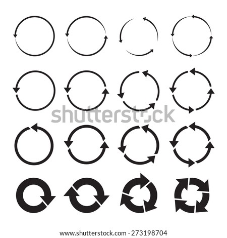 set of black circle vector arrows