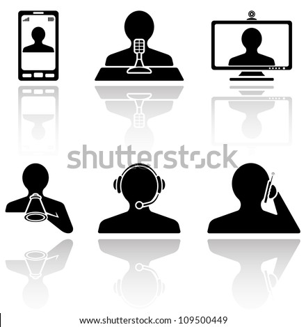 Set of black Communication icons on white background, illustration