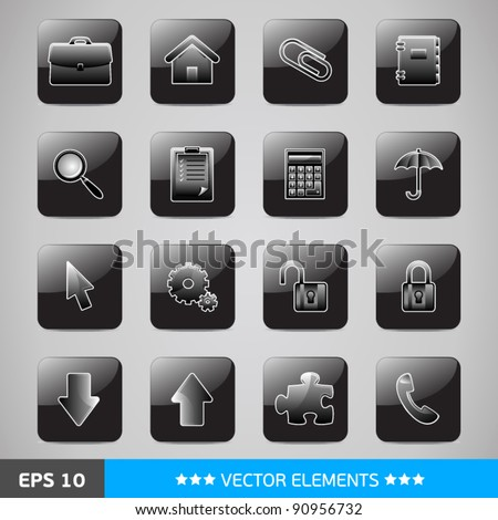 Set of black computer's web icons